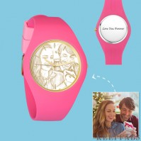 Women's Silicone Engraved Photo Watch Women's Engraved Photo Watch 41mm Pink Strap - Golden