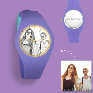 Women's Silicone Engraved Photo Watch Women's Engraved Photo Watch 41mm Purple Strap - Sketch