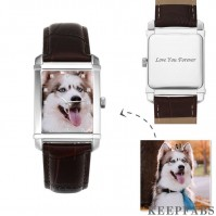 Women's Engraved Photo Watch 36.5*30mm Brown Leather Strap