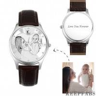 Women's Engraved Photo Watch 40mm Brown Leather Strap- Sketch