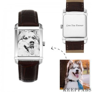 Women's Engraved Photo Watch 36.5*30mm Brown Leather Strap - Sketch