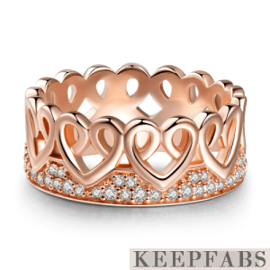 Entwined Love Princess Ring Rose Gold Plated Silver