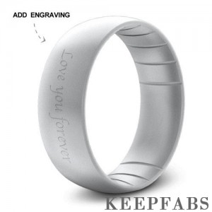 Engraved Keepfab Men's Grey Silicone Ring - Hypoallergenic