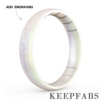Engraved Keepfab Unisex Grey Silicone Ring - Hypoallergenic