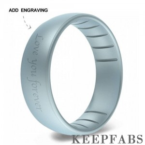 Engraved Keepfab Men's Blue Silicone Ring - Hypoallergenic