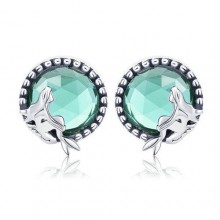 Love Between Mermaid and Man Stud Earrings Silver