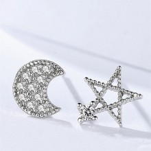 Asymmetrical Star and Moon Ear Studs