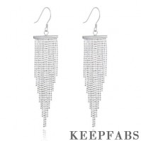 Elegant Tassel Drop Earrings Sterling Silver