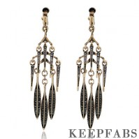 Black Leaf Long Section Tassel Drop Earrings