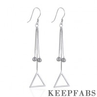 Triangle Tassel Drop Earrings Sterling Silver