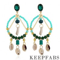 Green Crystal Beads Shells Long Tassel Drop Earrings