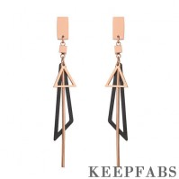 Triangle Tassel Drop Earrings Plated Rose Gold