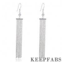 Rectangular Tassel Drop Earrings Sterling Silver