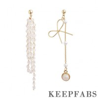 Asymmetry Crystal Tassel Drop Earrings