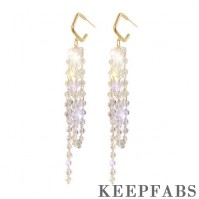 Crystal Tassel Drop Earrings Golden
