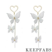 White Butterfly Tassel Drop Earrings