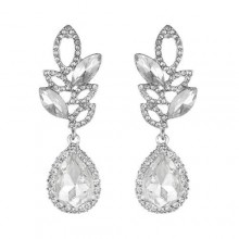 Hollow Zircon Drop Earrings Silver