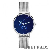 Aquarius Constellation Watch with Luminous Pointer Alloy Bracelet 36mm - Women's