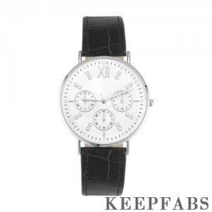 Automatic Watch White Dial Black Leather Strap - Women's