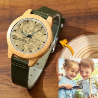 Women's Engraved Bamboo Photo Watch Dark Green Leather Strap 40mm