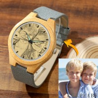 Women's Engraved Bamboo Photo Watch Grey Leather Strap 40mm