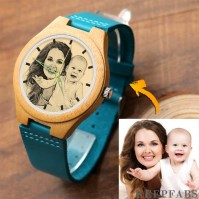 Women's Engraved Wooden Photo Watch Blue Leather Strap - Bamboo