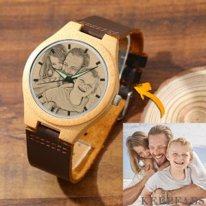 Men's Engraved Bamboo Photo Watch Brown Leather Strap 45mm