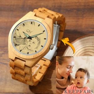 Men's Engraved Bamboo Photo Watch Wooden Strap 45mm