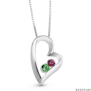 Silver Heart Birthstone Necklaces
