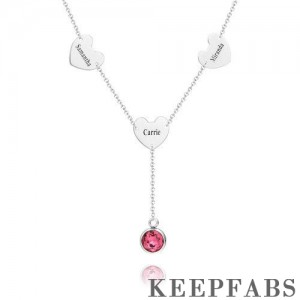Engraved Three Hearts Necklace with Custom Birthstone