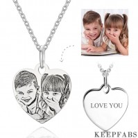 Engraved Photo Necklace Heart Shadow Carving Unique Gift Silver