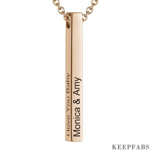 4 Sides Engraving Vertical Bar Necklace Rose Gold Plated