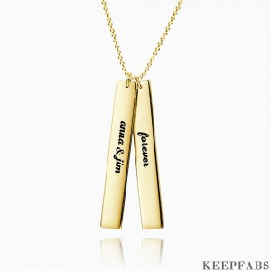 Vertical Two Bar Necklace With Engraving 14k Gold Plated Silver