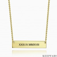 Engraved Roman Numeral Bar Necklace 14k Gold Plated Silver