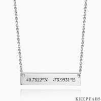 Silver Engraved Coordinate Bar Necklace Z901553561011