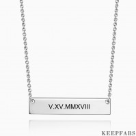 Silver Engraved Roman Numeral Bar Necklace Z901553561167