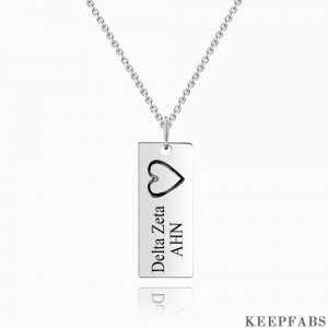 Vertical Bar Necklace For Couples With Engraving Silver Z901553561269