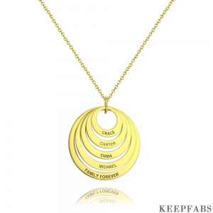 Personalized Five Disc Engraved Name Necklace 14K Gold Plated