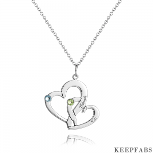Heart in Heart Necklace With Birthstone Silver