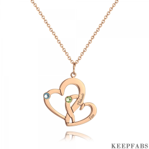 Heart in Heart Necklace With Birthstone Rose Gold