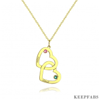 Engraved Necklace Two Heart With Birthstone 14K Gold