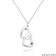 Engraved Necklace Two Heart With Birthstone Silver