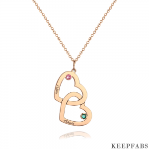 Engraved Necklace Two Heart With Birthstone Rose Gold