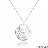 Personalized Five Disc Engraved Name Necklace Silver