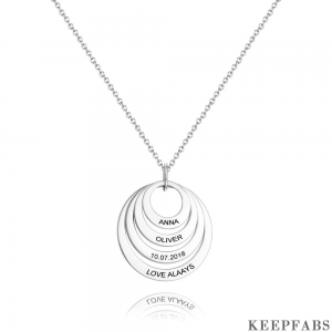 Personalized Four Disc Engraved Name Necklace Silver