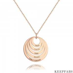 Personalized Five Disc Engraved Name Necklace Rose Gold Plated