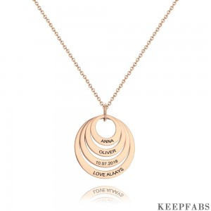 Personalized Four Disc Engraved Name Necklace Rose Gold Plated