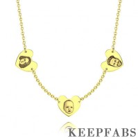 Custom Portrait Photo Necklace with Heart-shaped 14K Gold Plated - Golden