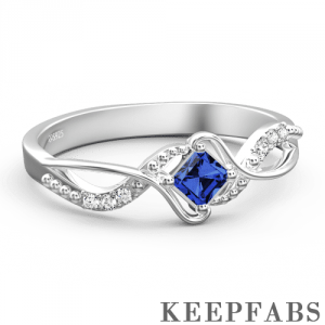 Personalized Birthstone Eternity Ring Silver