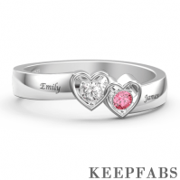 Personalized Birthstone with Engraving Promise Ring Silver